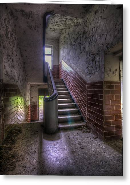 Tiles Stairs And A Window Greeting Card by Nathan Wright