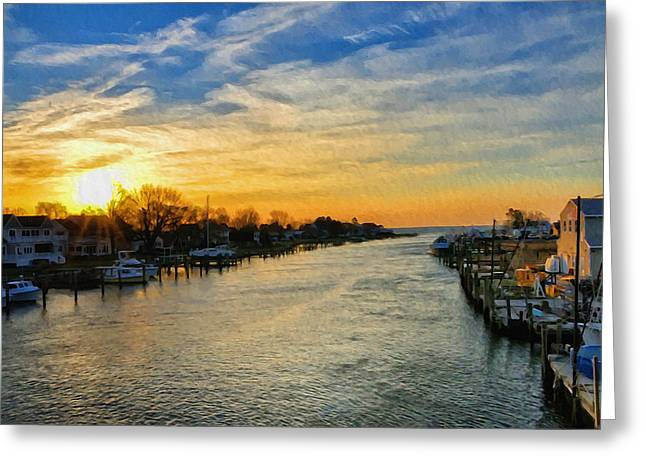 Tilghman Narrows At Sunrise Greeting Card by Bill Cannon