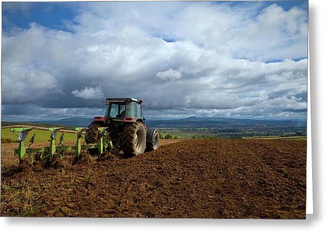 Tillage, Tractor Preparing Field Greeting Card by Panoramic Images
