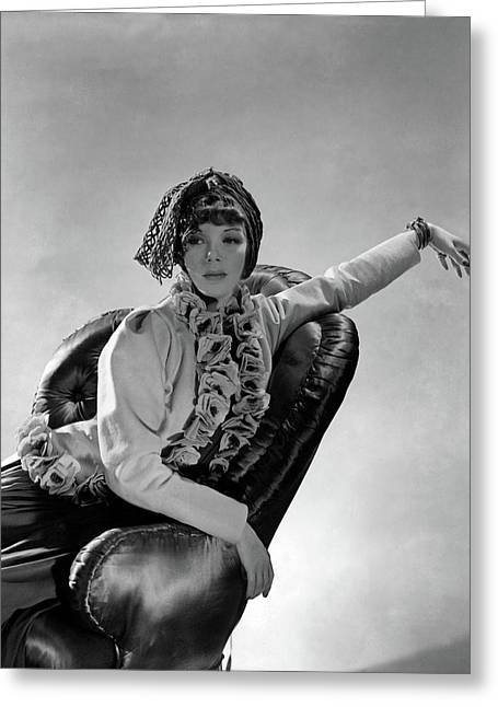 Tilly Losch Wearing A Turban Greeting Card by Horst P. Horst
