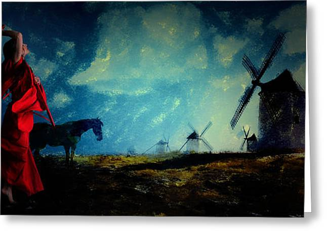 Tilting At Windmills Greeting Card by Galen Valle
