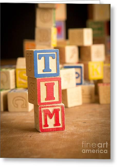 Tim - Alphabet Blocks Greeting Card by Edward Fielding
