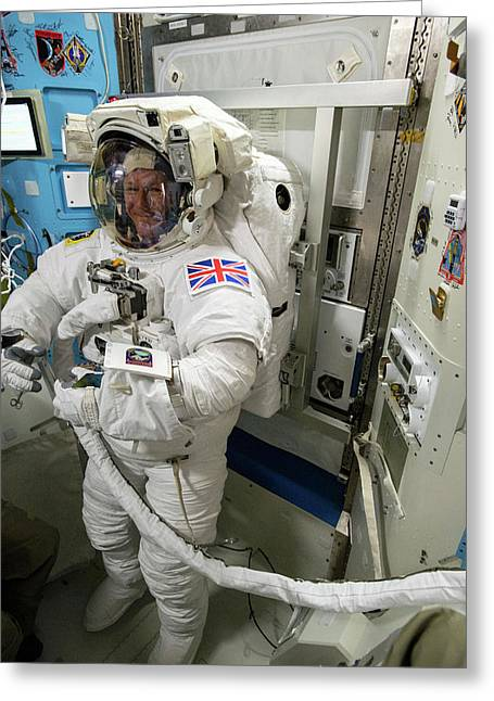 Tim Peake Preparing For Spacewalk Greeting Card by Nasa