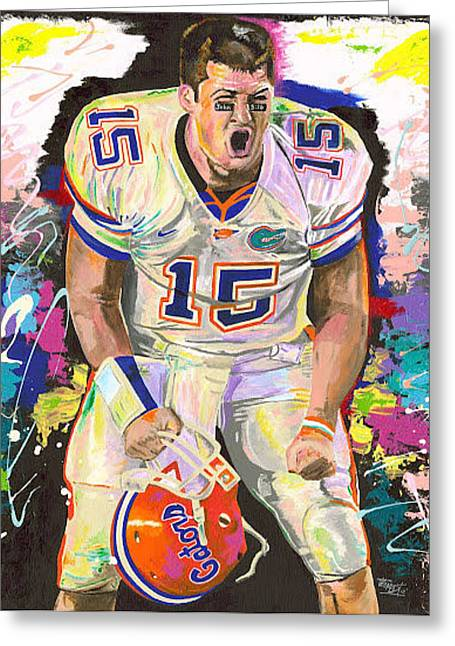Tim Tebow Greeting Card by Jeff Gomez