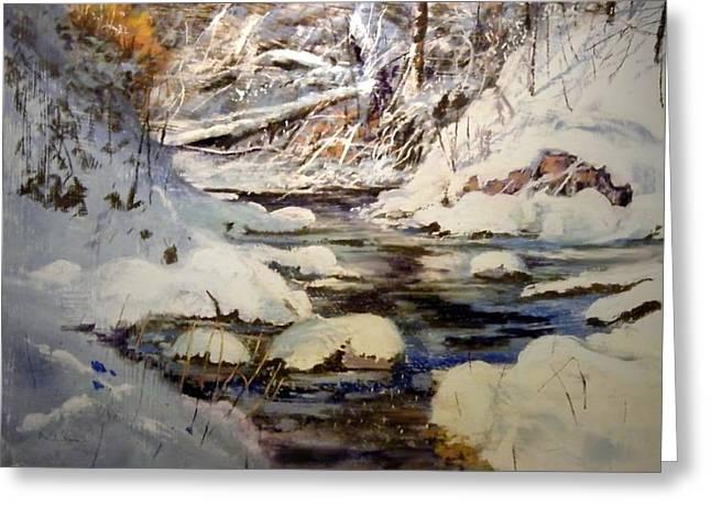 Timber Creek Winter Greeting Card by Joseph Barani