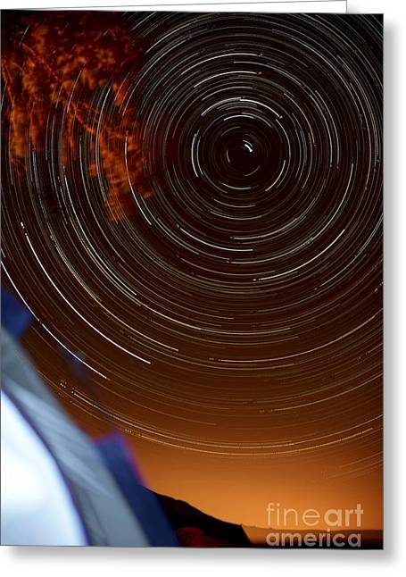 Time-exposure Of Polar Star Trails. Greeting Card by Shahar Tamir