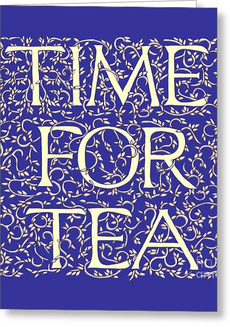 Time For Tea Royal Blue Greeting Card