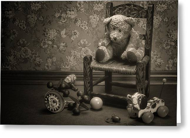 Time Out - A Teddy Bear Still Life Greeting Card by Tom Mc Nemar