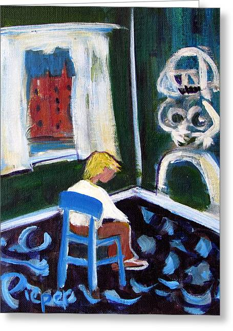 Time Out For De Kooning In A Chair In A Corner Greeting Card by Betty Pieper