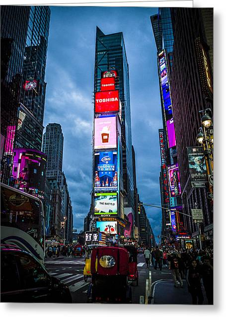 Time Square At Dusk Greeting Card by Chris Halford