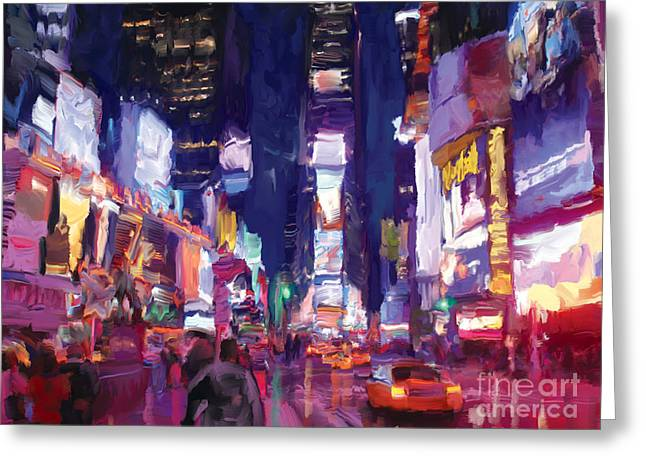Greeting Card featuring the painting Amy's Time Square In The Rain by Tim Gilliland