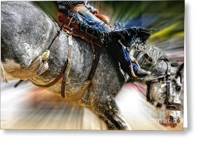 Time To Saddle Bronc Greeting Card by Lincoln Rogers