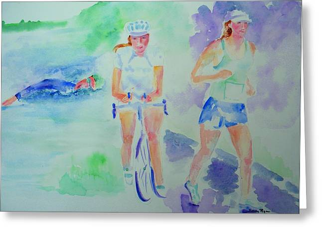Time To Tri Greeting Card by Sandy Ryan