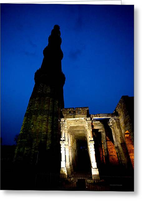 Time Travel  Qutub Minar Greeting Card by Sanjay Nayar