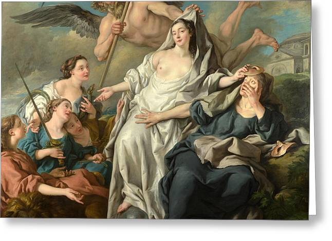Time Unveiling Truth Greeting Card by Jean-Francois Detroy