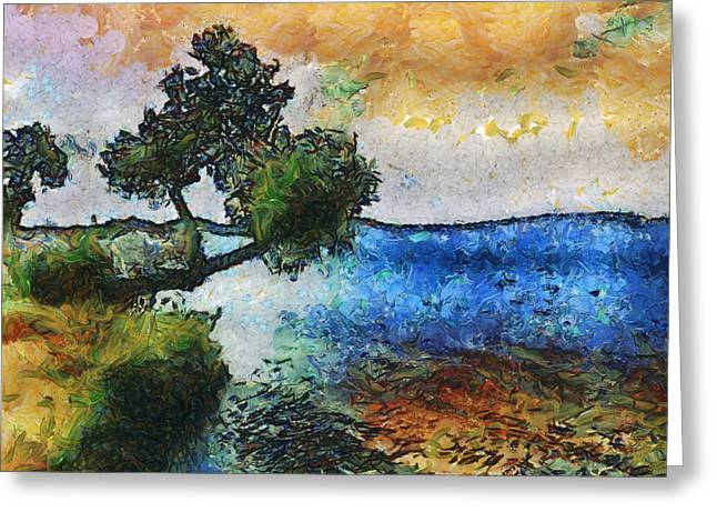 Greeting Card featuring the digital art Time Well Spent - Medina Lake by Wendy J St Christopher