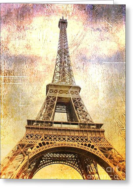 Timeless  Eiffel Tower Greeting Card by Carol Groenen