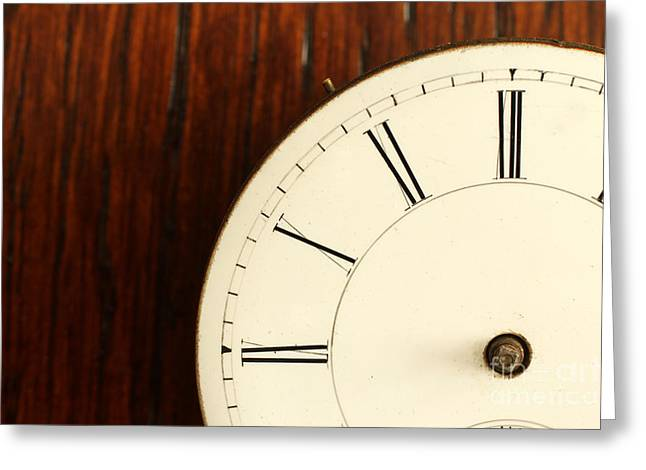 Timeless Left Side Of Antique Watch Face With No Hands Greeting Card by Adam Long