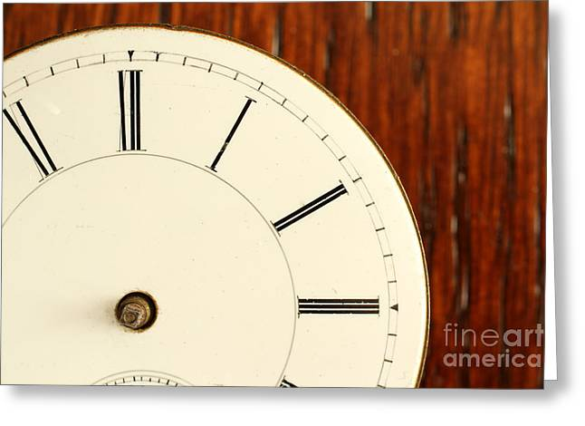 Timeless Right Side Of An Antique Watch Face With No Hands Greeting Card by Adam Long