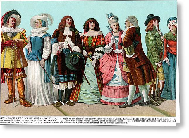 Timeline Of French Fashion Clothing Greeting Card