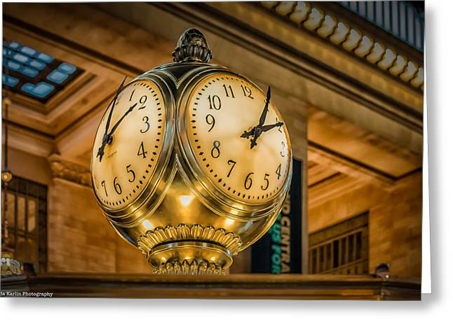 Timepiece At Grand Central Station New York Greeting Card by Linda Karlin