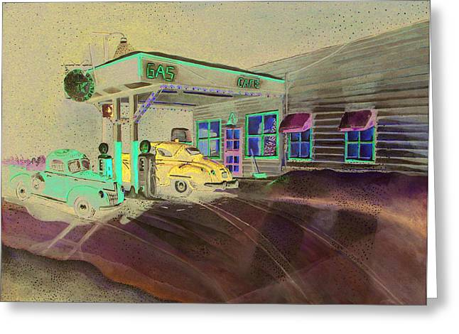 Times Past Gas Station Greeting Card by Rick Huotari