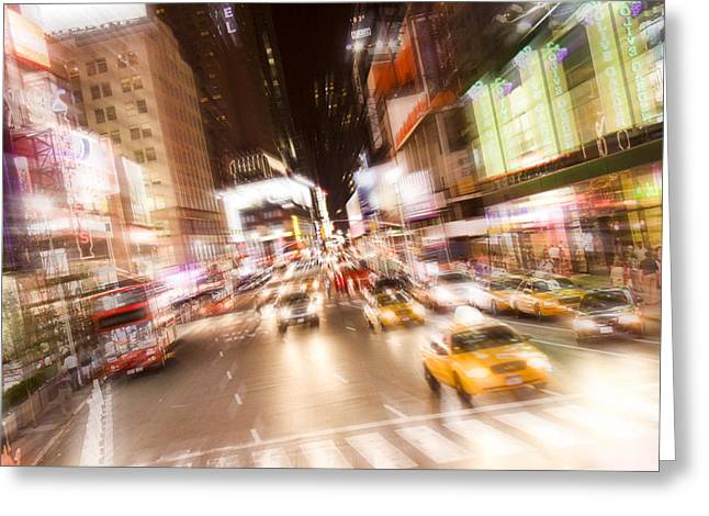 Times Square At Night Greeting Card by Erin Cadigan