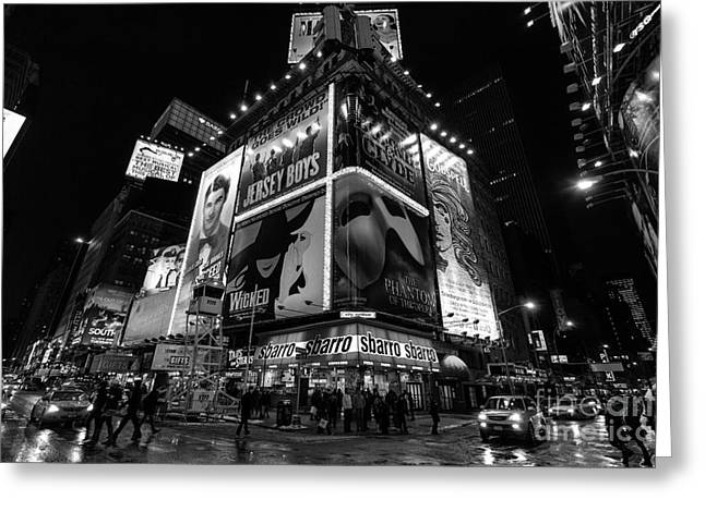Times Square Black And White II Greeting Card by John Farnan