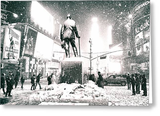 Times Square In The Snow - New York City Greeting Card by Vivienne Gucwa