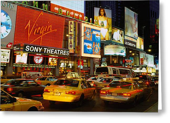 Times Square, Manhattan, Nyc, New York Greeting Card by Panoramic Images