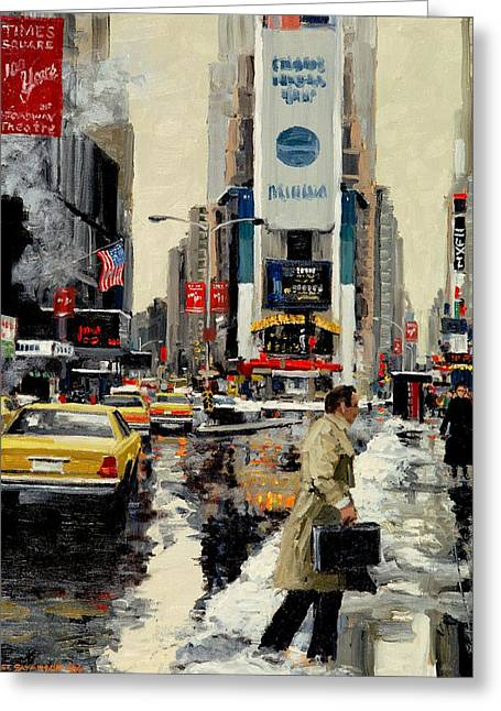 Times Square '95 Greeting Card by Michael Swanson
