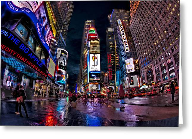 Times Square New York City The City That Never Sleeps Greeting Card by Susan Candelario