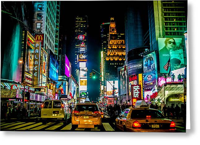 Times Square Nyc Greeting Card by Johnny Lam
