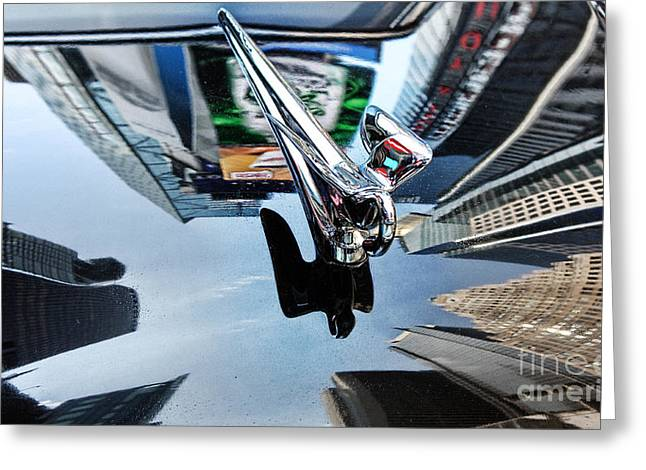Times Square On The Hood Of A Packard Greeting Card