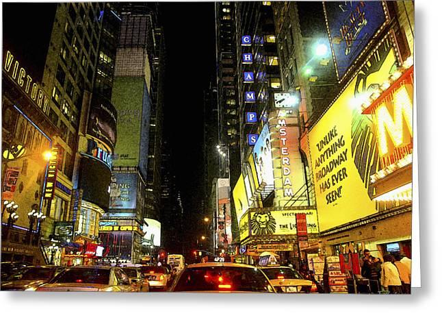 Times Square Photofresco Greeting Card by Joseph Hedaya