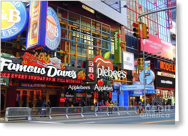 Times Square Razzle Dazzle Greeting Card by Anne Gordon