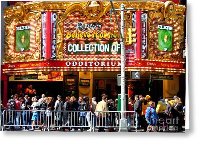 Times Square Ripleys Odditorium Greeting Card by Anne Gordon