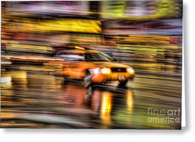 Times Square Taxi I Greeting Card by Clarence Holmes