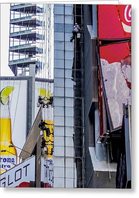 Times Square Window Washers Greeting Card by Jon Woodhams