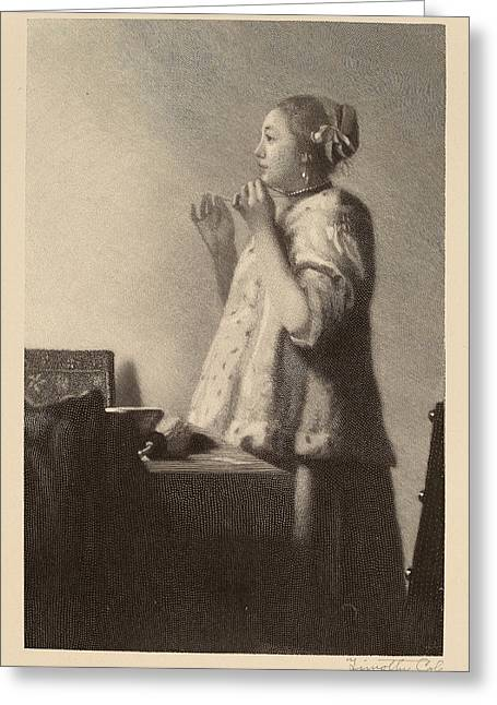 Timothy Cole After Johannes Vermeer, The Pearl Necklace Greeting Card