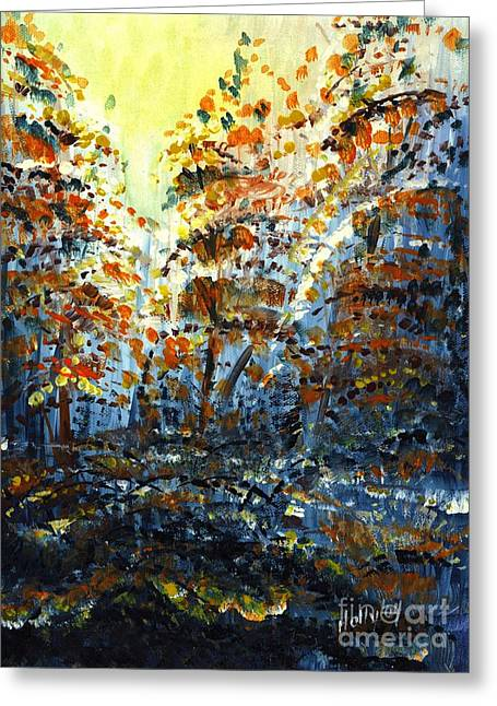 Greeting Card featuring the painting Tim's Autumn Trees by Holly Carmichael