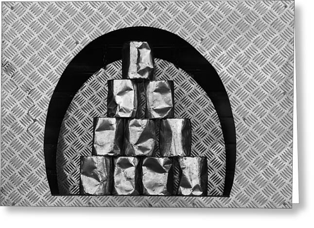 Tin Can Alley - Monochrome Greeting Card by Ulrich Kunst And Bettina Scheidulin