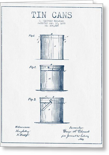 Tin Cans Patent Drawing From 1878 - Blue Ink Greeting Card by Aged Pixel