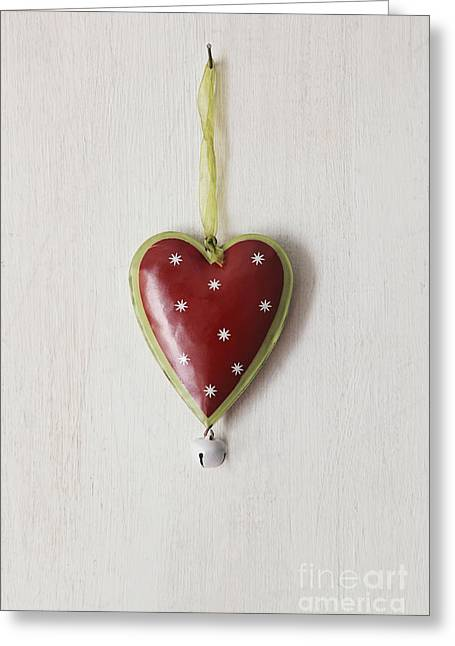 Greeting Card featuring the photograph Tin Heart Hanging On Wood by Sandra Cunningham