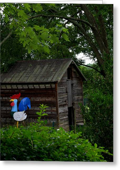 Greeting Card featuring the photograph Tin Rooster by Cathy Shiflett
