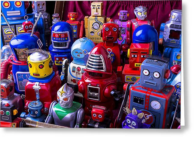 Tin Toy Robots At The Ready Greeting Card by Garry Gay