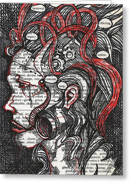 Tin Woman Greeting Card by Stacey Pilkington-Smith