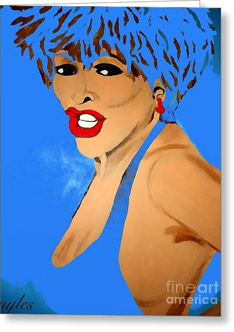 Tina Turner Fierce Blue 2 Greeting Card by Saundra Myles