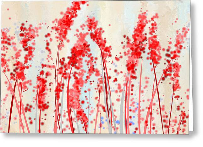 Tinge Of Passion- Cream And Red Art Greeting Card by Lourry Legarde