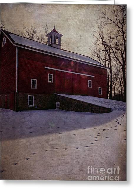 Greeting Card featuring the photograph Tinicum Barn In Winter by Debra Fedchin